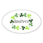 Bagpipe Shamrock Oval Sticker (Oval 50 pk)