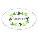 Bagpipe Shamrock Oval Sticker (Oval)
