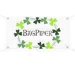 Bagpipe Shamrock Oval Banner