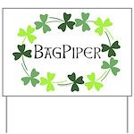 Bagpipe Shamrock Oval Yard Sign