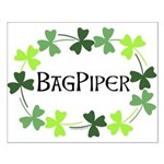 Bagpipe Shamrock Oval Small Poster