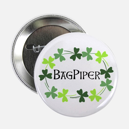 """Bagpipe Shamrock Oval 2.25"""" Button"""