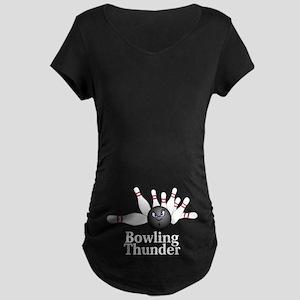 Bowling Thunder Logo 6 Maternity Dark T-Shirt Desi