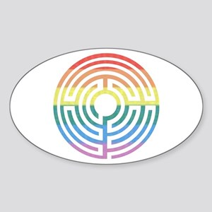 Rainbow Labyrinth Oval Sticker