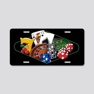 Casino Games Black Aluminum License Plate