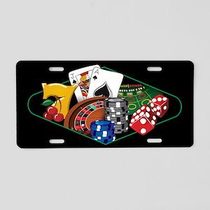Casino Games Black Aluminum License Plate