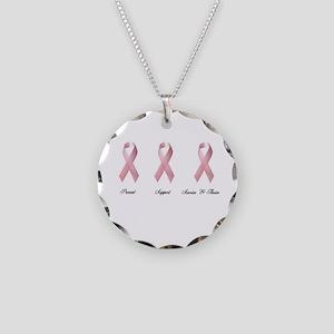 Pink Ribbon 2 Necklace Circle Charm
