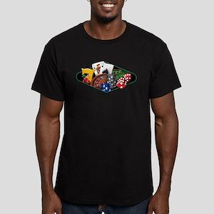 Casino Games Collage Men's Fitted T-Shirt (dark)