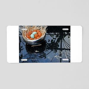 Eggs & Reflection Aluminum License Plate