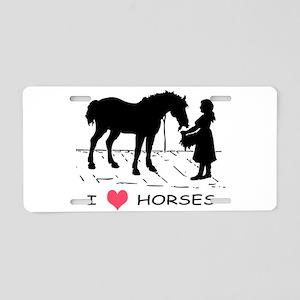 I Love Horses w/ Horse & Girl Aluminum License