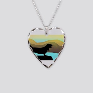Basset Hound By The Sea Necklace Heart Charm