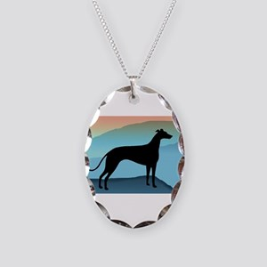 Greyhound Blue Mountains Necklace Oval Charm