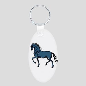 Baroque Horse Woodblock Aluminum Oval Keychain