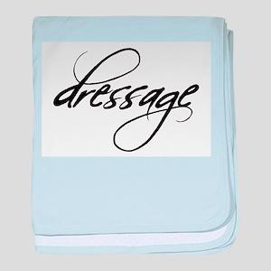 dressage (black text) baby blanket