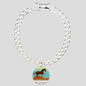 desert dressage w/ text Charm Bracelet, One Charm