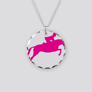h/j horse & rider pink Necklace Circle Charm