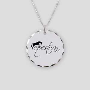 Equestrian w/ Jumping Horse Necklace Circle Charm