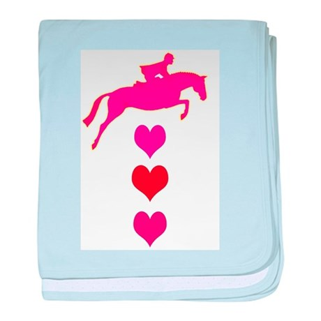 jumping horse & hearts baby blanket