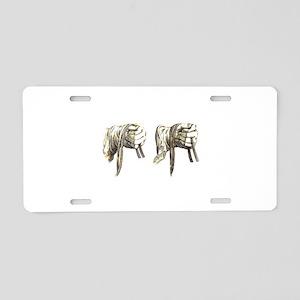 hands holding reins Aluminum License Plate