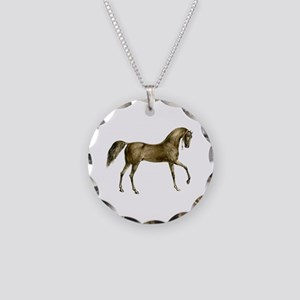 Vintage Horse Necklace Circle Charm