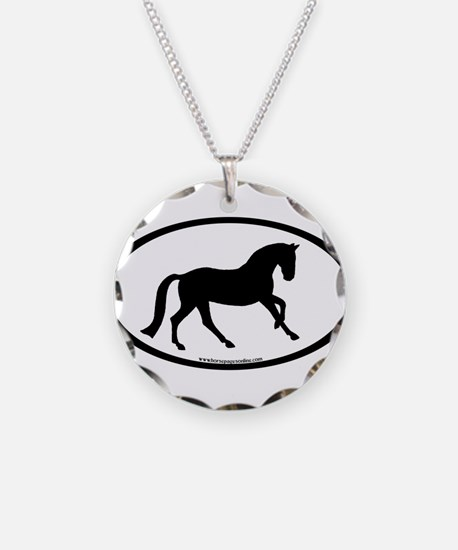 Canter Horse Oval Necklace Circle Charm
