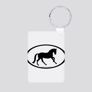 Canter Horse Oval Aluminum Photo Keychain