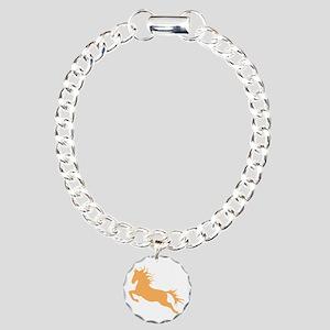 orange Leaping Horse Charm Bracelet, One Charm