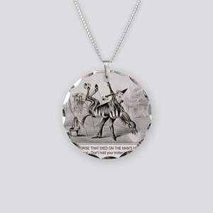 Horse trotter humor Necklace Circle Charm
