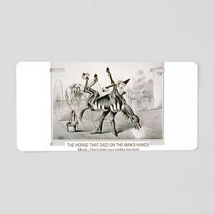 Horse trotter humor Aluminum License Plate