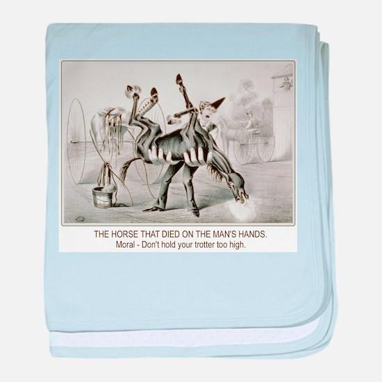 Horse trotter humor baby blanket