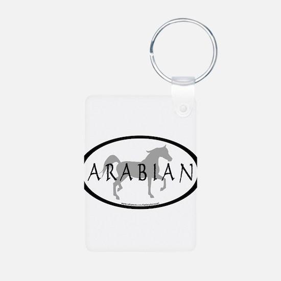 Arabian Horse Text & Oval (gr Keychains