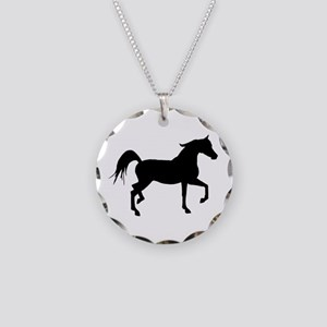 Arabian Horse Silhouette Necklace Circle Charm