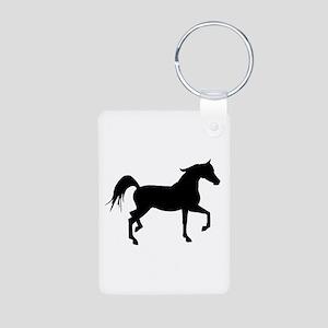Arabian Horse Silhouette Aluminum Photo Keychain