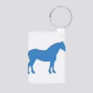 Blue Draft Horse Aluminum Photo Keychain