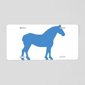 Blue Draft Horse Aluminum License Plate