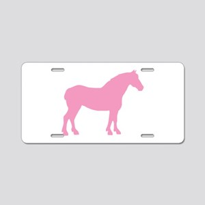 Pink Draft Horse Aluminum License Plate