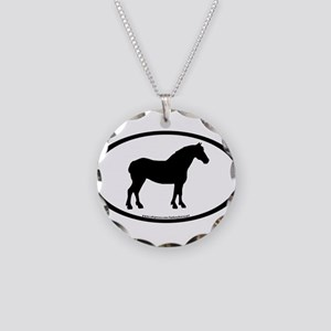 Draft Horse Oval Necklace Circle Charm