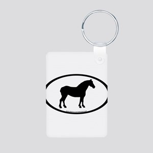 Draft Horse Oval Aluminum Photo Keychain