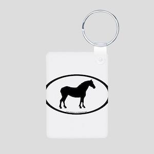 Draft Horse Oval Aluminum Photo Keychain