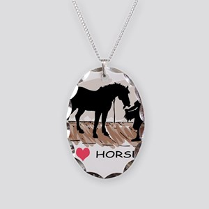Horse & Girl (version w/ colo Necklace Oval Ch