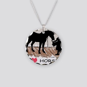 Horse & Girl (version w/ colo Necklace Circle
