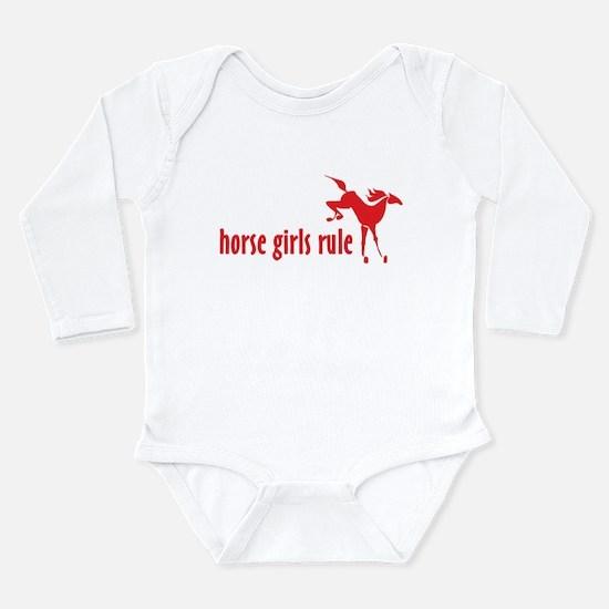 horse girls rule Long Sleeve Infant Bodysuit