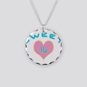 Blue Heart Sweet 16 Necklace Circle Charm