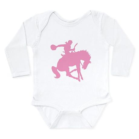 Pink Bronc Cowboy Long Sleeve Infant Bodysuit