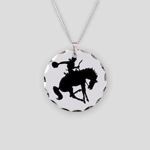 Bucking Bronc Cowboy Necklace Circle Charm