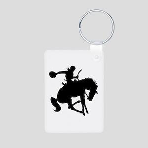 Bucking Bronc Cowboy Aluminum Photo Keychain