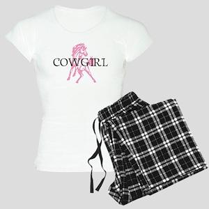 pink horse cowgirl Women's Light Pajamas