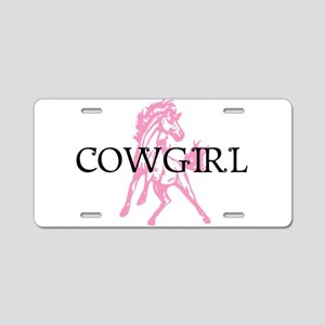 pink horse cowgirl Aluminum License Plate