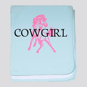 pink horse cowgirl baby blanket