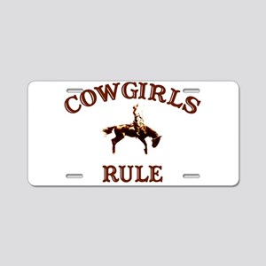 cowgirls rule Aluminum License Plate